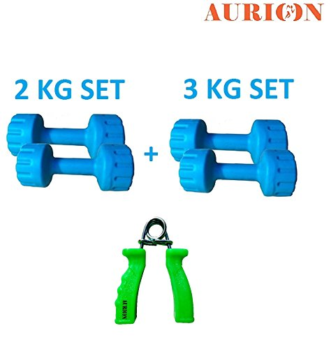 Aurion Hand Dumbbells Weights Fitness Home Gym Exercise Barbell With Accessories (Hand Grip + dumbbells(2 KG X 2+3 KG X 2))