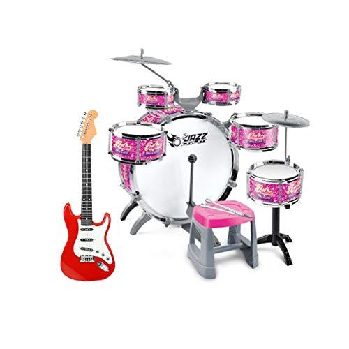 LIUFS-Tamburo dei bambini Bambini Drums Principianti Giocattolo Musicale Band Batterie Beat Boys Regalo Drums con Regali Chitarra 3-5 Anno Vacanze (Color : Drum+Guitar)