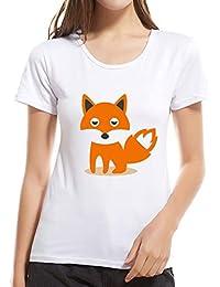 1d574c6a5 AIMEE7 Ropa Mujer Camiseta de Manga Corta con Estampado Creativo de Zorro