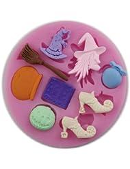 Auket # 102 talons magiques balai de sorcière Fondant moule en silicone Sugarcraft de décoration de gâteau (3DMold-102)