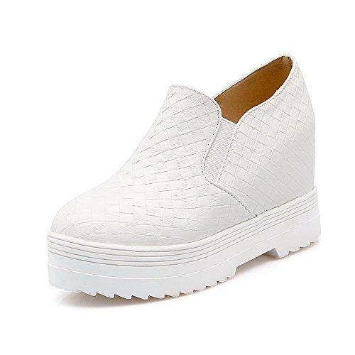 AgooLar Damen Ziehen Auf Rund Zehe Hoher Absatz Pu Leder Rein Pumps Schuhe Weiß