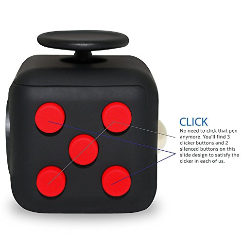 Fidget Cube Toy Anxiety Attention Stress Relief for Children and Adults Black (Red) - High Quality Build