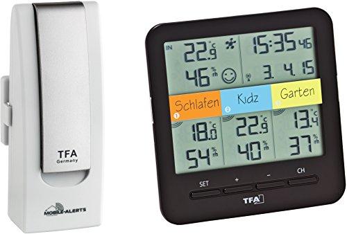 TFA Dostmann Wetterstation, Weatherhub Smarthome System Klima-und Heimüberwachung mit Smartphone, Starter-Set mit Funk-Thermo-Hygrometer, weiß, 40 x 28 x 104 cm, 31.4007.02