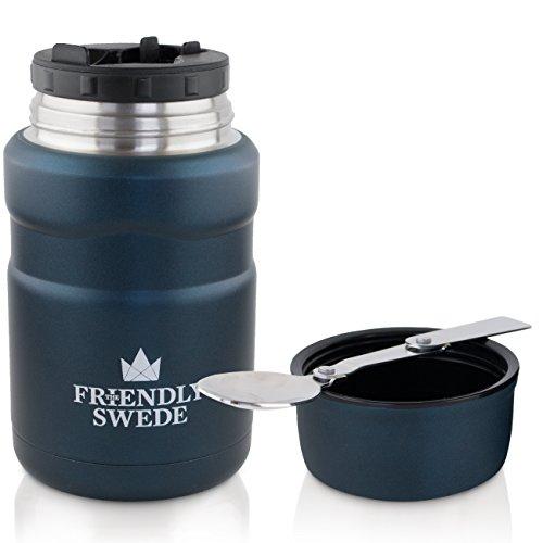 The Friendly Swede Edelstahl Thermobehälter für Essen und Getränke • 500ml Essensbehälter, Isolierbehälter, Speisebehälter mit Gewürzfach, Klapplöffel und Becher