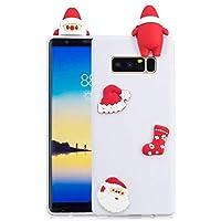 Für Samsung Galaxy Note8 Weihnachtsserien-Kasten, HengJun Weihnachtssankt-Blumen dünner weicher Silikon-Kasten 3D kreative Art- und Weisekühle Karikatur-nette stoßsichere Gummiabdeckung für Samsung Galaxy Note8 - A Weiß