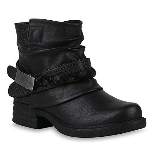Damen Stiefeletten Biker Boots Schnallen Metallic Schuhe 147507 Schwarz 37 Flandell