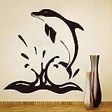 yaoxingfu Delfines Saltando Fuera del Agua Tatuajes de Pared Adhesivos Modernos de Vinilo calcomanías de diseño Creativo decoración para el hogar para niños habitación Decora 58 cm x 61 cm