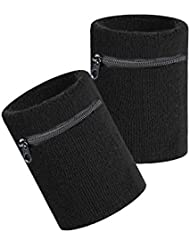 HOTER Sports Thick Solid Color Wristband with Zipper / Wrist Wallet, Price/Piece