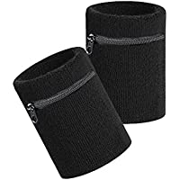 VENI MASEE Sports Thick Solid Color Wristband with Zipper / Wrist Wallet, Price/Piece