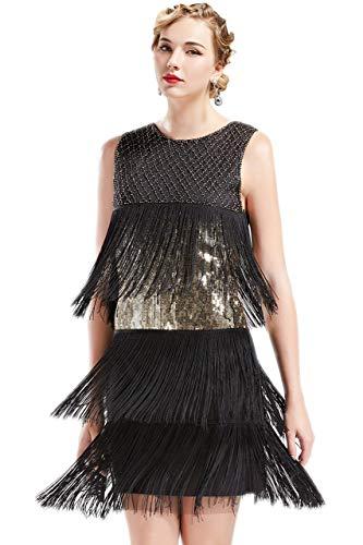 ArtiDeco 1920s Charleston Kleid Damen Knielang Cocotail Party Kleid 20er Jahre Flapper Damen Gatsby Kostüm Kleid (Schwarz Gold, XS) (Schwarzen Kleid Damen Kostüm)