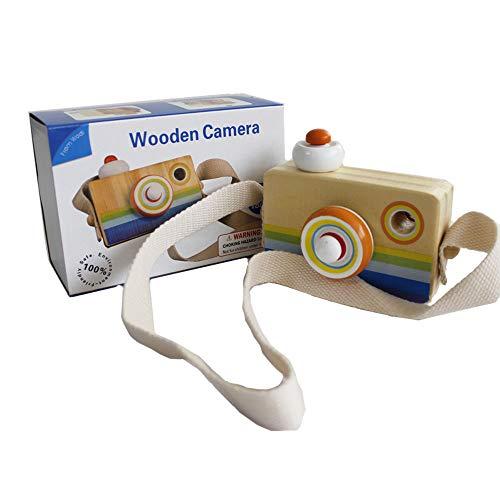 Gobus Cartoon Mini cámara de Madera de Juguete con Multi-Prism caleidoscopio Fotos Lente cámara portátil para niños pequeños (Colgando en el Cuello)
