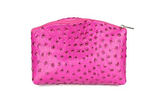 BELLI 'Bellini' kleine Leder Kosmetiktasche Make Up Tasche - Farbauswahl - 18x13x5 cm (B x H x T) (Pink strauss)