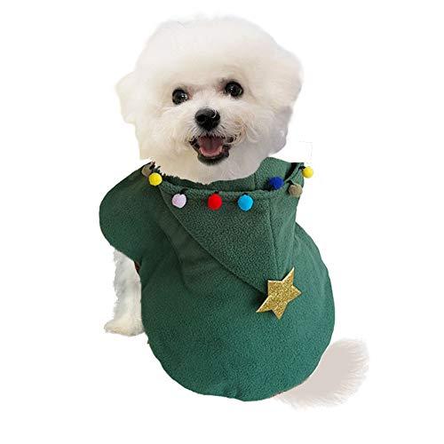 Kostüm Schneeball - NACOCO Hundekostüm, Weihnachtsmann-Umhang mit Hut und Buntem Ball für Kleine mittelgroße und große Hunde, L