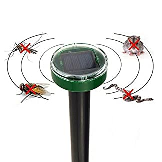 Eco-Friendly Solar Power Electronic Ultrasonic Pest Repellent Gopher Mole Snake Mouse Pest Reject Repeller Bug Repeller for Insect, Rodent, Mice, Cockroach, Mosquito, Spider, Ant, Flea 410wetuszQL