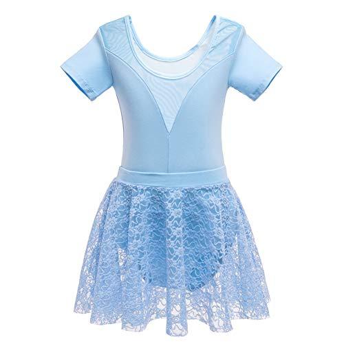 Maritown Kinder tanzen Kostüme Kurzarm Spitze Wickelrock Gymnastikballett Trikots Ballett Tutu Kleid für Alter 3-12