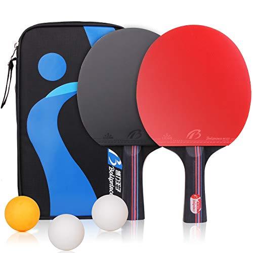 BESTOO Tischtennisschläger Professioneller Pingpong-Schläger mit Tasche 2 Spieler Tischtennis-Set Ideal für Anfänger, Familien und Profis (2 Schläger und 3 Bälle)