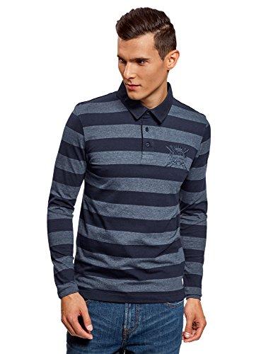 oodji Ultra Herren Baumwoll-Poloshirt mit Stickerei, Blau, DE 50/M (Polo 50 Jersey Shirt)