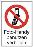 1340. Verbots-Kombischild Foto-Handy benutzen verboten Kunststoff [Hart-PVC], witterungsbeständig Größe 26,20 cm x 37,10 cm