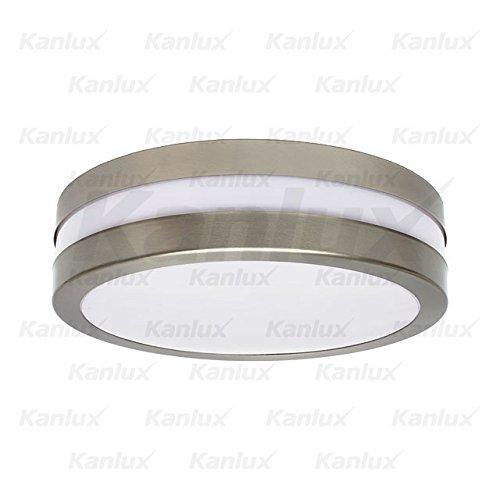 Outdoor Decken Lampe rund silber weiß Garten Garagen Beleuchtung Sockel 2xE27 IP44 Kanlux 8980 - Outdoor-beleuchtung Deckenleuchte