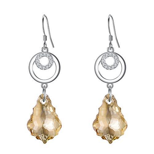 Clearine Orecchini Donna- 925 Argento CZ Barocco Doppio Cerchio Gancio ciondola gli orecchini decorato con Cristalli da Honey Topazio Colore