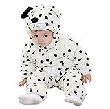 Katara 1778 - Kigurumi Mameluco Disfraz Infantil - Bebé 18-24 Meses, Perro Dálmata Blanco-Negro