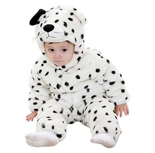 Kostüm Süße Hunde Große - Süßes Hunde Kostüm, Schwarze Punkte; Hund Verkleidung mit witzigen Details, Schlapp-Ohren, Kapuze mit Gesicht, praktischer Reißverschluss