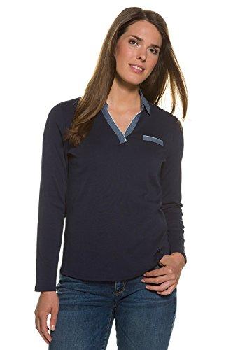 GINA_LAURA Damen Poloshirt | Basic | Denim-Optik | Kragen | Brusttasche | Langarm | Ripp-Jersey | bis Größe XXXL 708062 Navy