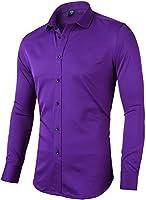 INFLATION Herren Hemd aus Bambusfaser umweltfreudlich Elastisch Slim Fit für Freizeit Business Hochzeit Reine Farbe Hemd Langarm Herren-Hemd, Gr XXS-2XL, 10 Farben