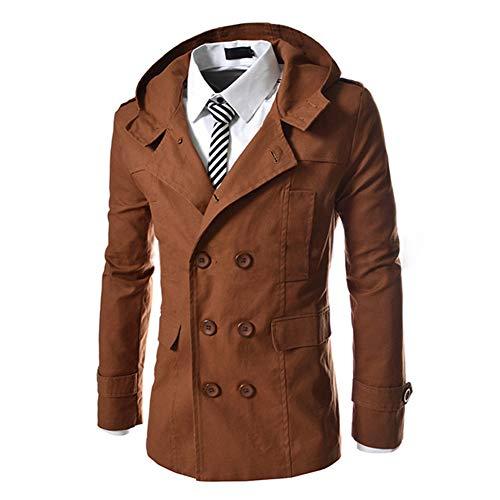 AOWOFS Herren Trenchcoat mit Kapuze Kurz Regular Fit Mantel für Frühling Sommer Herbst Braun M