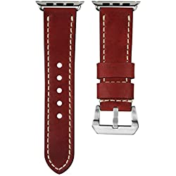 USA Oiled Leather Geckota® Watch Strap Ivory Stitch for Apple Watch 38mm, Vintage Red