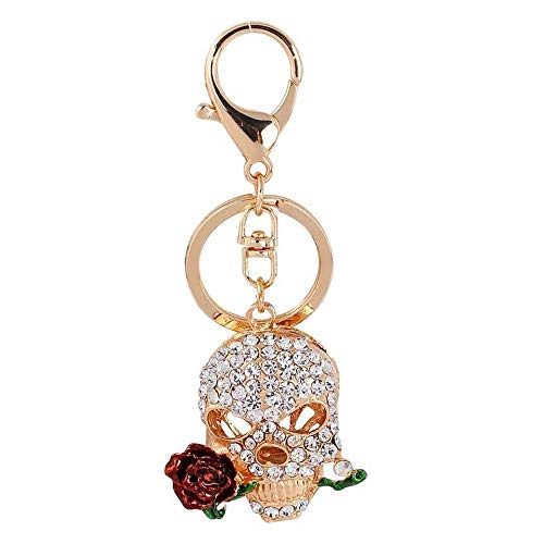 kreative persönlichkeit schädel schlüsselbund kristall Rose Skeleton Auto schlüsselanhänger weiblichen Beutel anhänger mädchen Geschenk, weiß ()