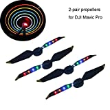 Crazepony-UK 2 Pair DJI Mavic Pro / Platinum Propeller Low Noise Quick-Release Foldable Props,with Flash LED Light Universal Accessories for DJI Mavic Pro Platinum Drone