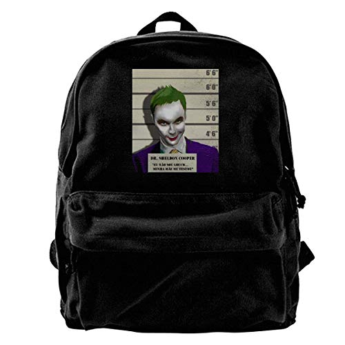 Canvas Backpack DR. Sheldon Cooper Vs The Joker Swag Crazy Rucksack Gym Hiking Laptop Shoulder Bag Daypack for Men Women