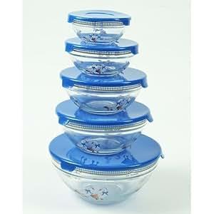 Maison Futée - Bols en verre gigognes bleu (lot de 5)