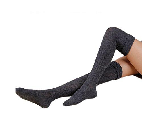 Cindeyar 1 Paar Damen Winter Overknee Strümpfe Lange Kniestrümpfe Retro Schüler Überknie Strick Socken (Dunkelgrau)