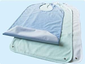 Lätzchen Frottee für Erwachsene mit Krümelfach und Druckknopfverschluss, Farbe: blau TOP-QUALITÄT