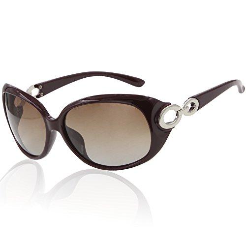 DUCO Damen Klassisch Stern Sonnenbrille polarisiert 100% UV-Schutz 1220 (Dunkelrot)