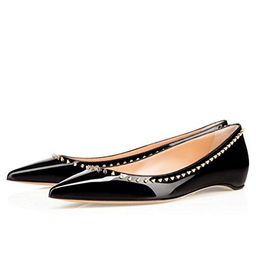 EDEFS Femmes Artisan Fashion Ballerines Classiques Décontractés Cloutés Rivets Pointes Pointus Chaussures Plates Noir-P