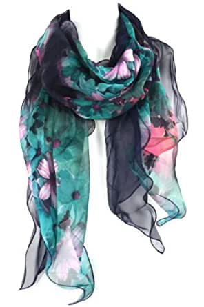 "Two Tone Chiffon Scarf Shawl - Floral Print Layered Materials - Violet Pink & Green on Navy Blue - 80"" x 15"""