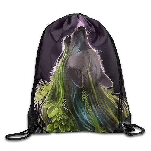 Naiyin Unisex Magical Animals Wolves Print Drawstring Backpack Rucksack Shoulder Bags Gym Bag Sport Bag