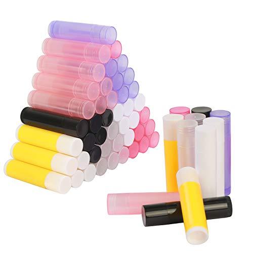 LANMOK Leer Lippenbalsam Hülsen zum Selbst Befüllen DIY Lippenstift Klar Rohr für Lippenpflege(56er Pack in verschiedenen Farben,5.5ml)