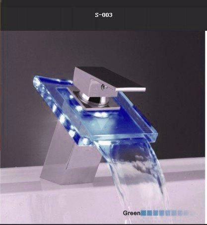 LED rubinetto rame temperatura controllo colore vetro lampada LED cascata rubinetto lavabo,LED (Modello Di Olio Di Vetro Lampada)