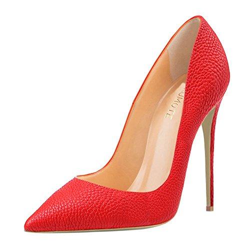 MERUMOTE Damen Y-190 Stilettos Pointed Pumps Spitze high heels Rot
