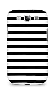 AMEZ designer printed 3d premium high quality back case cover for Samsung Galaxy S3 i9300 (black white lines)