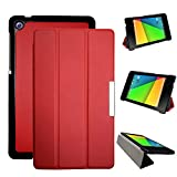 Cover Case for Asus Google Nexus 7 2nd (2nd.2013 model) pu leather pouch with stand - Fit for 2013 Release Nexus 7 tablet (Red)
