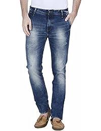 Raa Jeans Slim Fit Men's Green Navy Blue Towel Wash Jeans