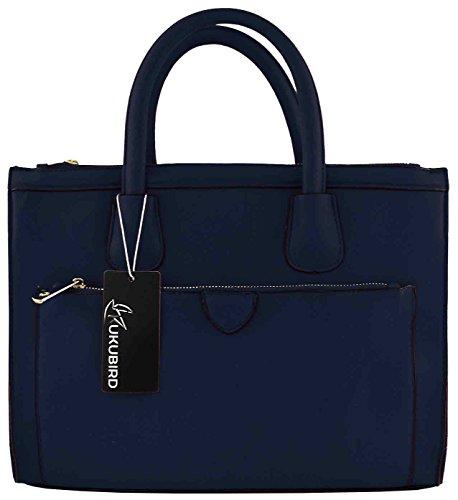 Kukubird Faux Leather Classic Tote Large Handbag NAVY