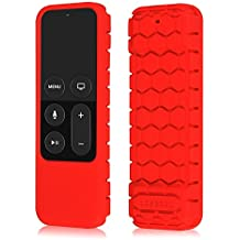 Fintie Anti-Slip Remote Case Housse Coque de protection en silicone pour Apple TV 4ème génération Siri Télécommande, Rouge