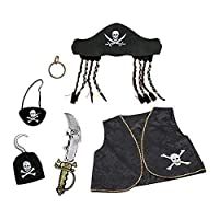 Kids Pirate Fancy Dress Costume Accessory Set (Hat, Sword, Waistcoat, Patch, Hook, Earring)