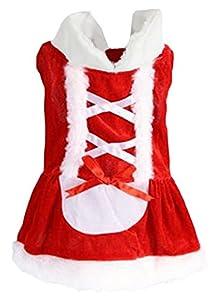 Y-BOA Vêtement Chien Déguisement Père Noël Pet Costume Manteau Chaud Mignon Chat Rouge
